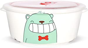 Microwavable Ceramic Bento Box Lunch Box Food Container With Seal Fine Porcelain Round Shape With Dividers (GreenBear)