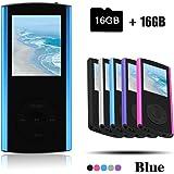 Crillutar Reproductor de MP3 16 GB con mini puerto USB facetado, Slim MP4, selección multilingüe 1.8 Reproductor portátil de LCD, reproductor de video/música, multimedia con visor de fotos –Blue