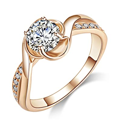 6b02ac07c Acefeel Cheap Cubic Zirconia Promise Ring For Her Wedding Engagement Ring  For Women Rose Gold Plated