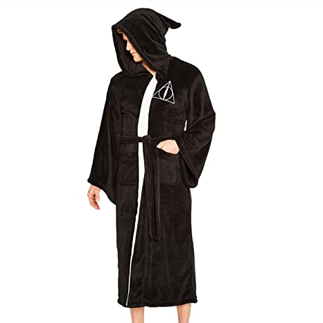 Official Harry Potter Deathly Hallows Adult Fleece Dressing Gown One Size Clothing, Shoes & Accessories