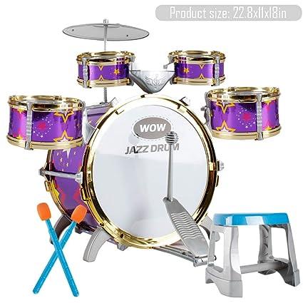 Beginner Children Kid JAZZ Drum Set Kit Drum With Sticks Musical Educational Toy