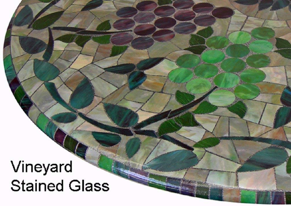 Mosaic Table Cloth Round 36 Inch To 48 Inch Elastic Edge Fitted Vinyl Table Cover Vineyard Stained Glass Pattern Brown Purple Green by Table Magic