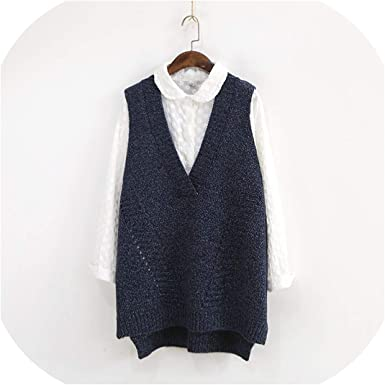 Large Size V Neck Casual Knitted Vest Women Irregular Loose Vests  Sleeveless, Navy, One Size at Amazon Women's Clothing store