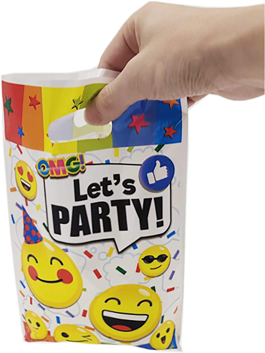 30 Packs Emoji Party Gift Bags Birthday Party Bags for Kids Emoji Themed Party Decorations,Emoji Time Birthday Party Supplies Favors and Baby Shower