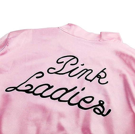 Grease Chaqueta de Pink satén Disfraz de Lady Danny con pañuelo de Lunares Cazadora para Mujer Disfraces de 1950s Ladies para Carnavales Halloween Color ...