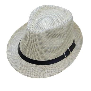 7b80b436523d Bonnet Bébé, Gentleman Trilby Gangster Cap Treillis Trame Plage Soleil  Tissé Bande de Paille Sir Edward Cool Chapeau, Automne et Hiver (Beige)   Amazon.fr  ...