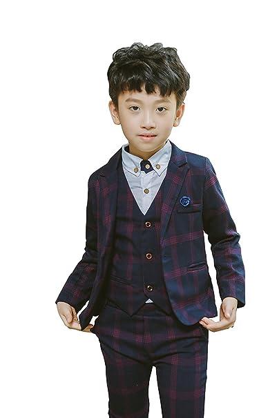 Amazon.com: Niños Plaid Trajes formales vestido Blazer ...