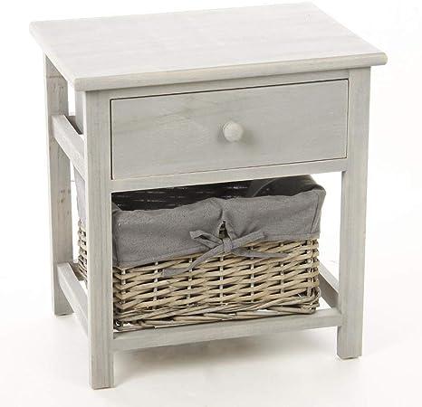 bois panier gris Table chevet avec tiroir et de en dtQhsr