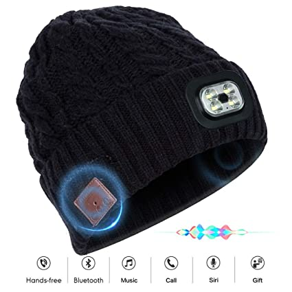 5b0c2f9ccd2 Bluetooth Beanie Hat with Wireless Headphone Headset Speaker Mic Hands-Free  Flashlight Rechargeable Headlamp Cap