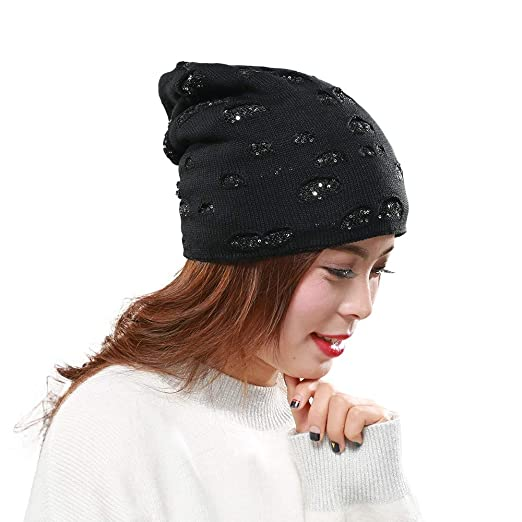 dfb2b558ca8 Image Unavailable. Image not available for. Color  Outsta Hat Cap Men and  Women Autumn Winter Sequin Knitted Hats Indoor Plus Warm ...