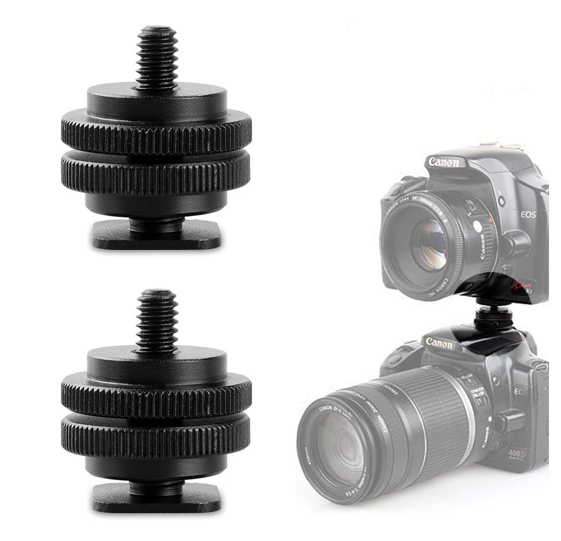 Pro 1/4' Tripod Mount Screw to Flash Hot Shoe Adapter Camera Monitor (2-Pack) Althrorry