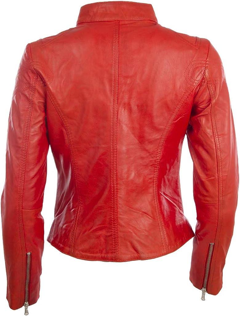 CRD9 Aviatrix Giacca da Moto Molto alla Moda in Vera Pelle Super Soft Donna