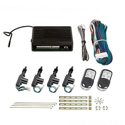 Sistema de cierre central para autos, juego completo de 4 puertas, incl. 2 mandos a distancia, 4 servomotores
