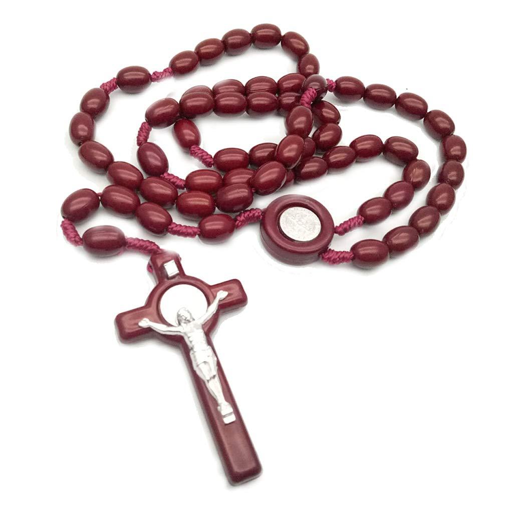 8 mm Rosario Perla Collana Ciondolo Croce Corda Tessuto Gioielli Accessori Nero Haorw Kafen Ges/ù Perline in Legno