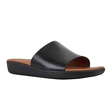 75bde6d6933857 FitFlop Women s Sola Slides - Leather Black 7   Travel Sunscreen Spray  Bundle