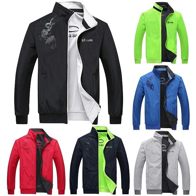ZODOF chaqueta hombre abrigo Pullover Moda Impresa Chaqueta ...