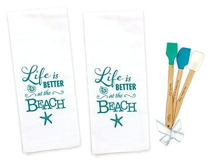 5 piece La Vida Es Mejor en la playa toallas de cocina – Juego de 2
