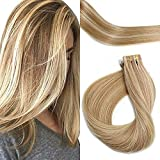 PoleStar Hair Tape In Human Hair Extensions 20pcs Seamless Silky Straight Weft Remy Virgin Hair(Piano Ombre Color #12-613 16inches)
