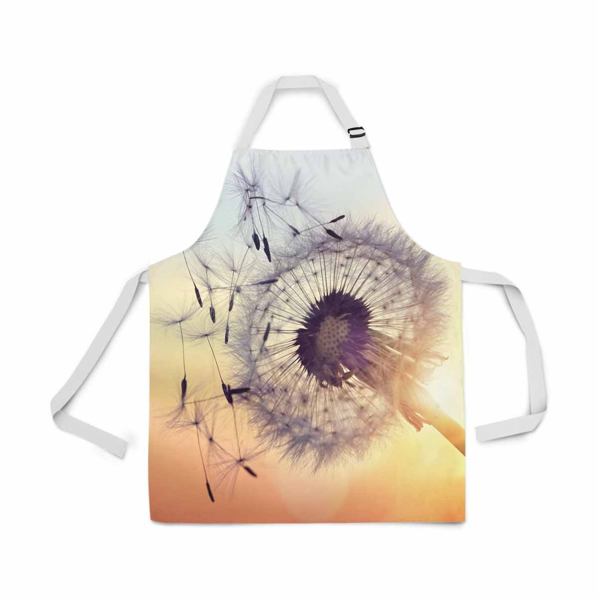 InterestPrint Dandelion Silhouette Against Sunset Seeds Blowing Wind Adjustable Bib Apron for Women Men Girls Chef with Pockets, Kitchen Apron for Cooking Baking Gardening Pet Grooming Cleaning