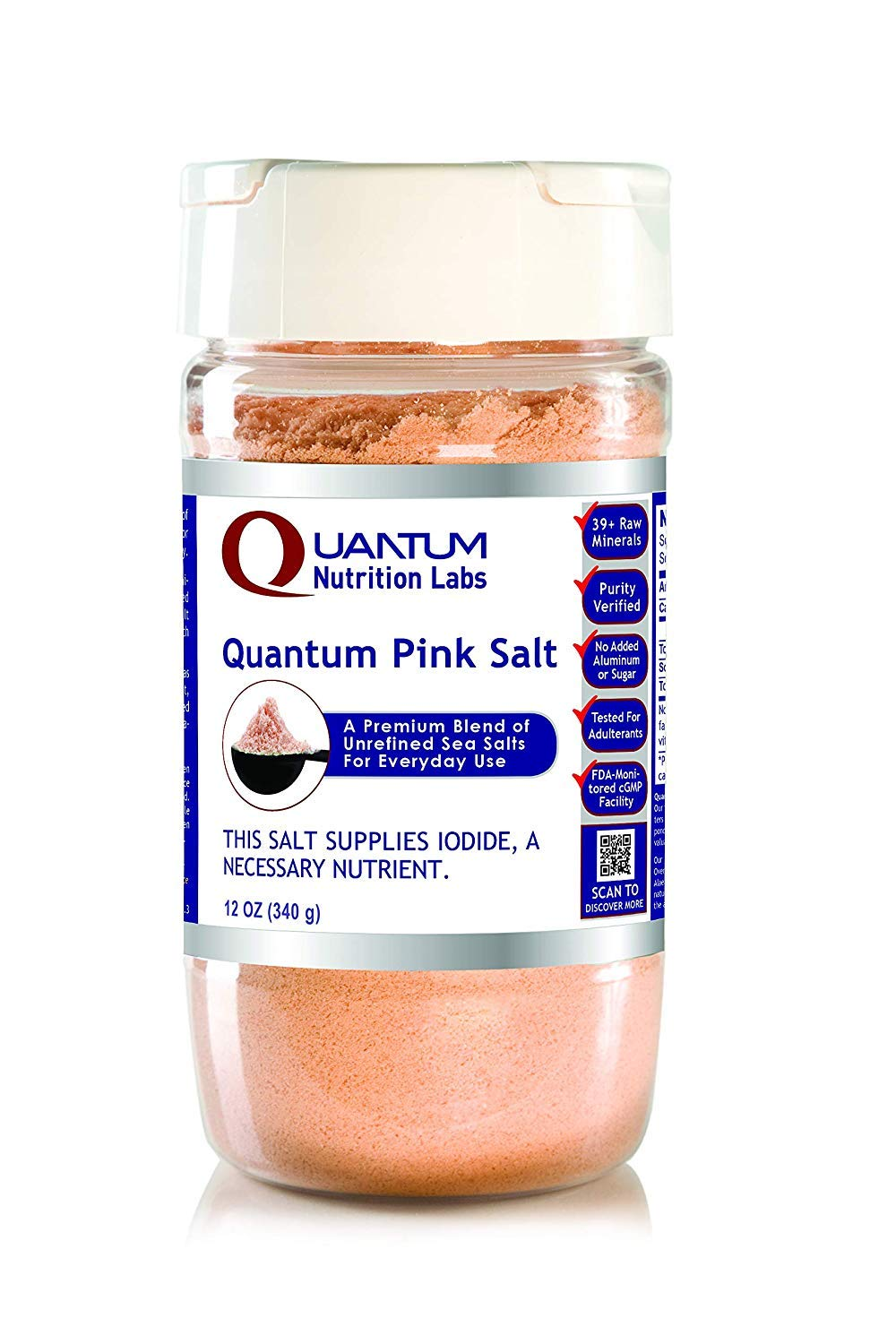 Quantum Pink Salt, 24 oz - A Premier Pink Salt Blend of Unrefined, Untreated Sea Salts for Everyday Use with No Anti-Clumping Agents or Additives