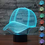 HeXie Christmas Gift Magic Baseball Cap Lamp 3D Illusion 7 Colours Touch Switch USB Insert LED Light Birthday Present and Party Decoration