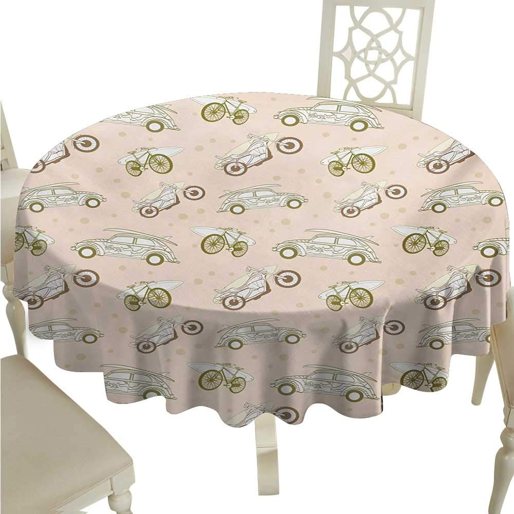 Surfboard Round Polyester Tablecloth Surfboards Transported On Vehicles Cars Bikes Motorcycles California Washable Polyester - Great for Buffet Table, ...
