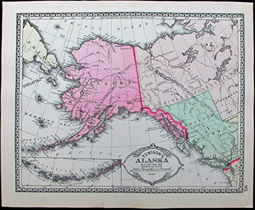 Alaska Aleutian Islands Behring Sea Russia 1886 Tunison old antique color map
