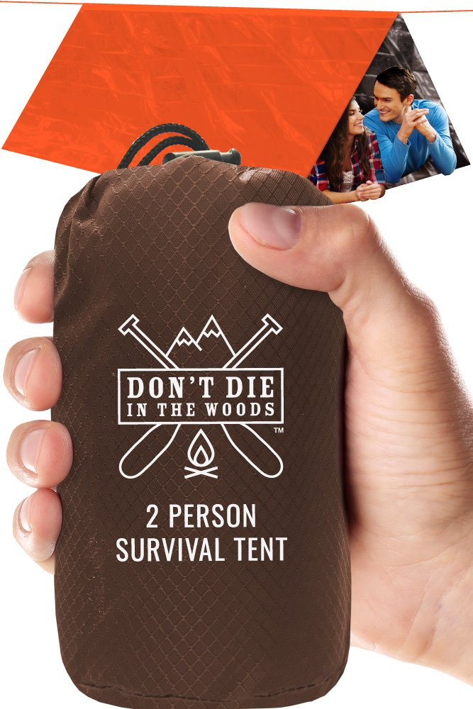 World's Toughest Ultralight Survival Tent • 2 Person Mylar Emergency Shelter Tube Tent + Paracord • Year-Round All Weather Protection For Hiking, First Aid Kits, & Outdoor Survival Gear by Don't Die In The Woods