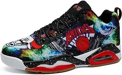 Zapatillas de Baloncesto para Hombre Zapatillas de Deporte con Pintura de Graffiti con Cordones Zapatos Deportivos de Lona con Plataforma Baja Cojín de Aire Zapatillas de Deporte Casuales