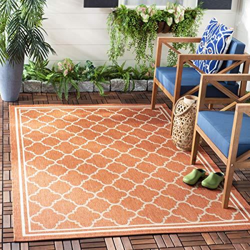 Safavieh Courtyard Collection CY6918-241 Terracotta and Bone Indoor/ Outdoor Area Rug (6'7