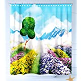 HAIXIA Shower-Curtains Nature Decor Print Cartoon Like Scenery of Flowers Trees Gardens and Mountains Artwork