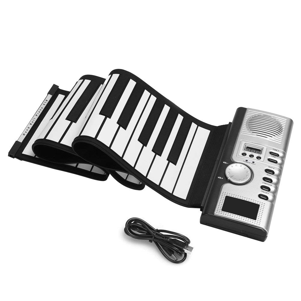 Roll Up Piano, 61 Keys Digital Synthesizer Electronic Multifunction Silicone Portable Soft Foldable Roll Up Piano Electronic Programmable Keyboard