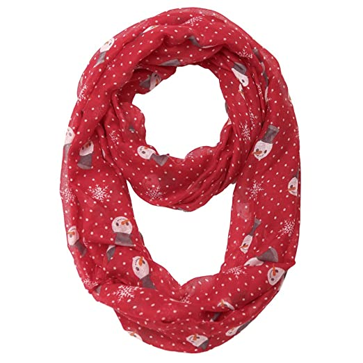 missshorthair christmas infinity scarf lightweight loop holiday gift idea snowman