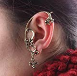 Gothic Vintage Retro Rock Punk Vine Branch Jewelry Rhinestone Flower Ear Earrings Ear Wrap Stud Cuff