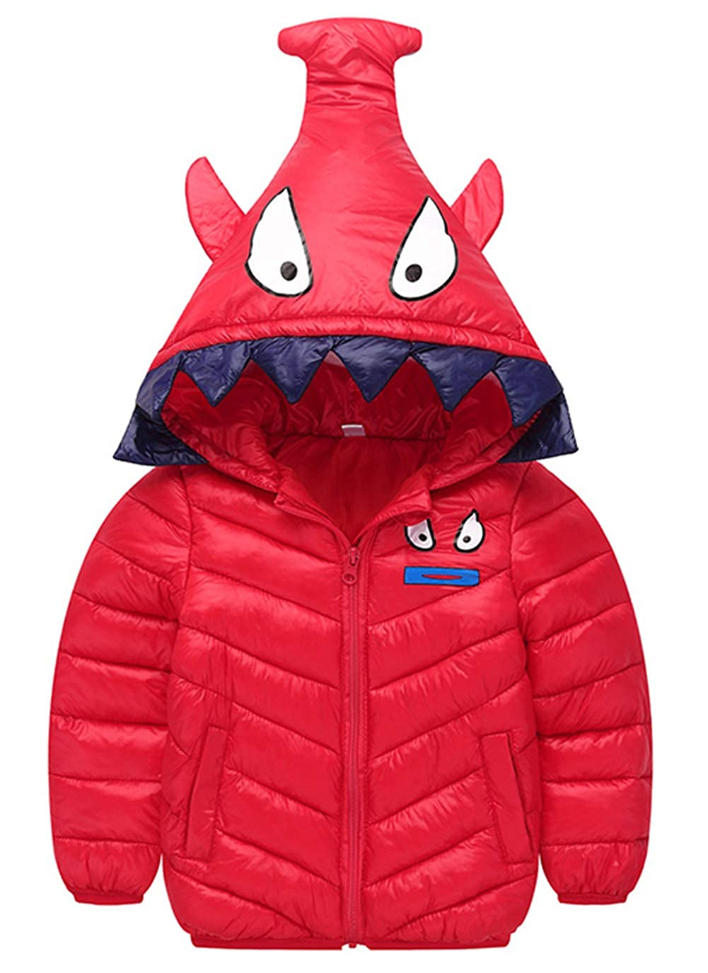 Happy Cherry Toddler Winter Down Coat Cute Hood Cotton Puffer Jacket Lightweight Windproof Outcoat for 2-7 Years