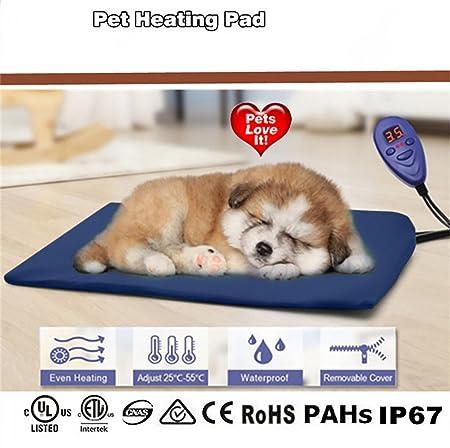 Cozywind Mascota Almohadilla Eléctrica Alfombrillas de Calefacción para Perros y Gato Impermeable Mantas de Cama Resistente a la Masticación 7 Niveles de ...