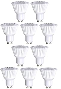 10 Pack Bioluz LED GU10 LED Bulbs 50W Halogen Replacement Dimmable 6.5w 3000K 120v UL Listed (Pack of 10)