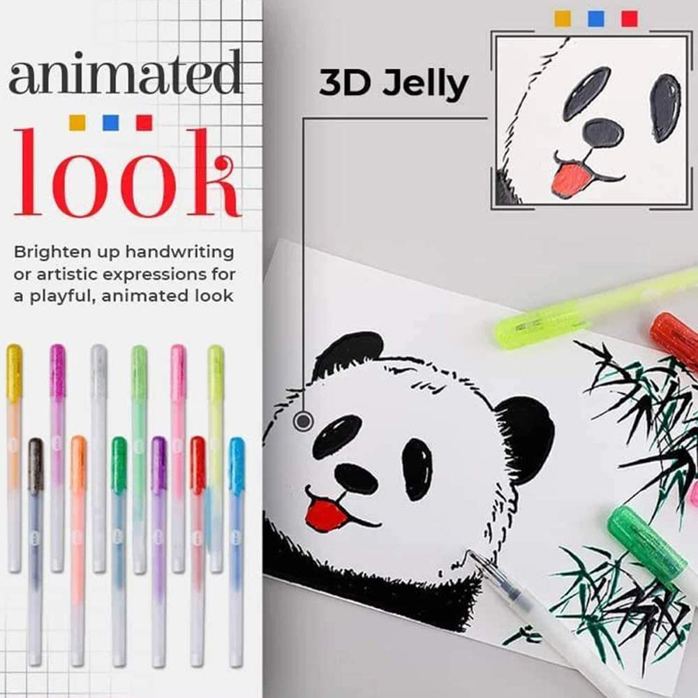 3D Glossy Jelly Ink Set Assorted Colors DIY Album Card Scrapbooks Writing Drawing Pen 1 mm Bold Tip 12PCS