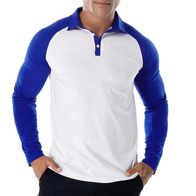 Dragon868 Informal Patchwork Slim Fit Manga Larga Camisas de Polo de otoño para los Hombres