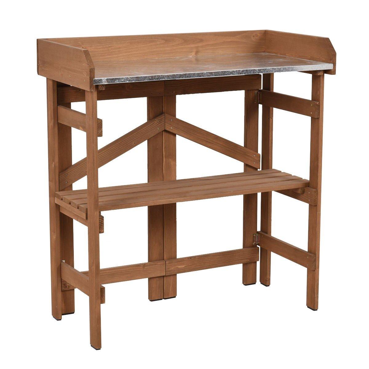 MD Group Potting Bench Garden Planting Wooden Shelves Table Workstation Outdoor Shelf Storge