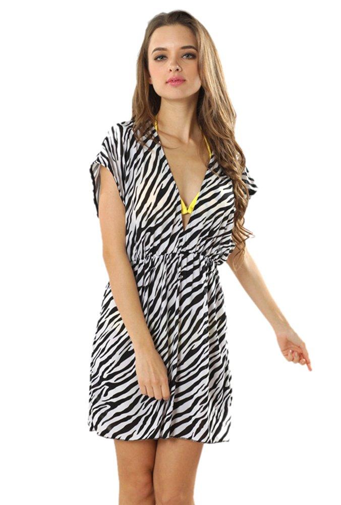 TopTie V Neck Beach Dresses Animal Printed/Colorful Printed - Zebra BACJ-DK51140_ZEBRA