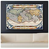"Alonline Art - Antique Old Vintage V3 World Map Synthetic CANVAS Not framed +GIFT 47""x31"" - 118x79cm Giclee Poster Prints Posters Painting Wall Decor Paints Pictures Paintings Wall Art"
