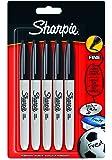 Sharpie S0811000 Pochette de 5Marqueurs Permanents à Pointe Fine Encre Noir