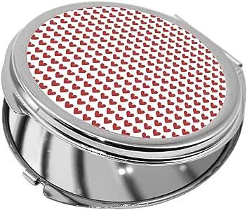 مرآة جيب، بتصميم قلوب حمراء، شكل دائري