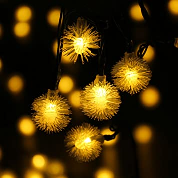 Qedertek Chuzzle Ball Solar Christmas Lights, 15.7ft 20 LED Fairy Lights for Indoor and Outdoor, Garden, Home, Patio, Lawn, Party and Holiday Decoration (Warm White)