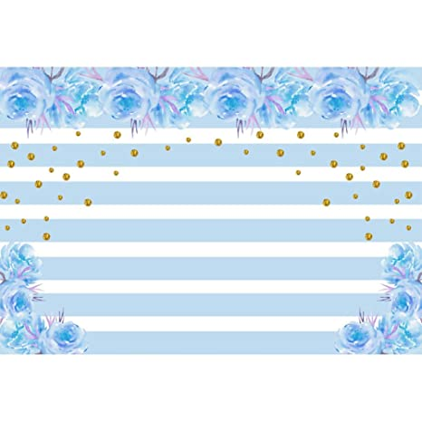 Baocicco 10x65ft Happy Birthday Backdrop Wedding Backdrop Blue Flowers Decor Golden Glitters White And Blue Stripes Photography Background Bride To