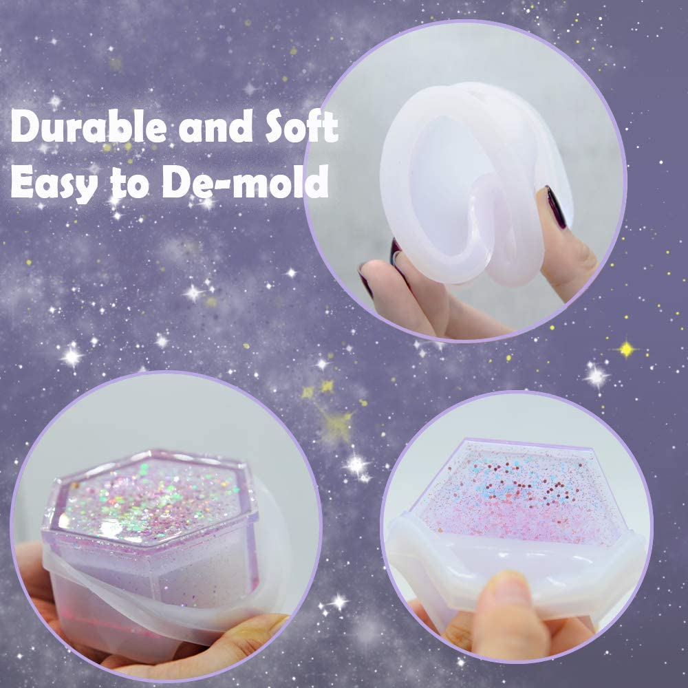 caja de almacenamiento coraz/ón resina epoxi para hacer joyero cuadrado flor KEKU Molde de resina de silicona hex/ágono