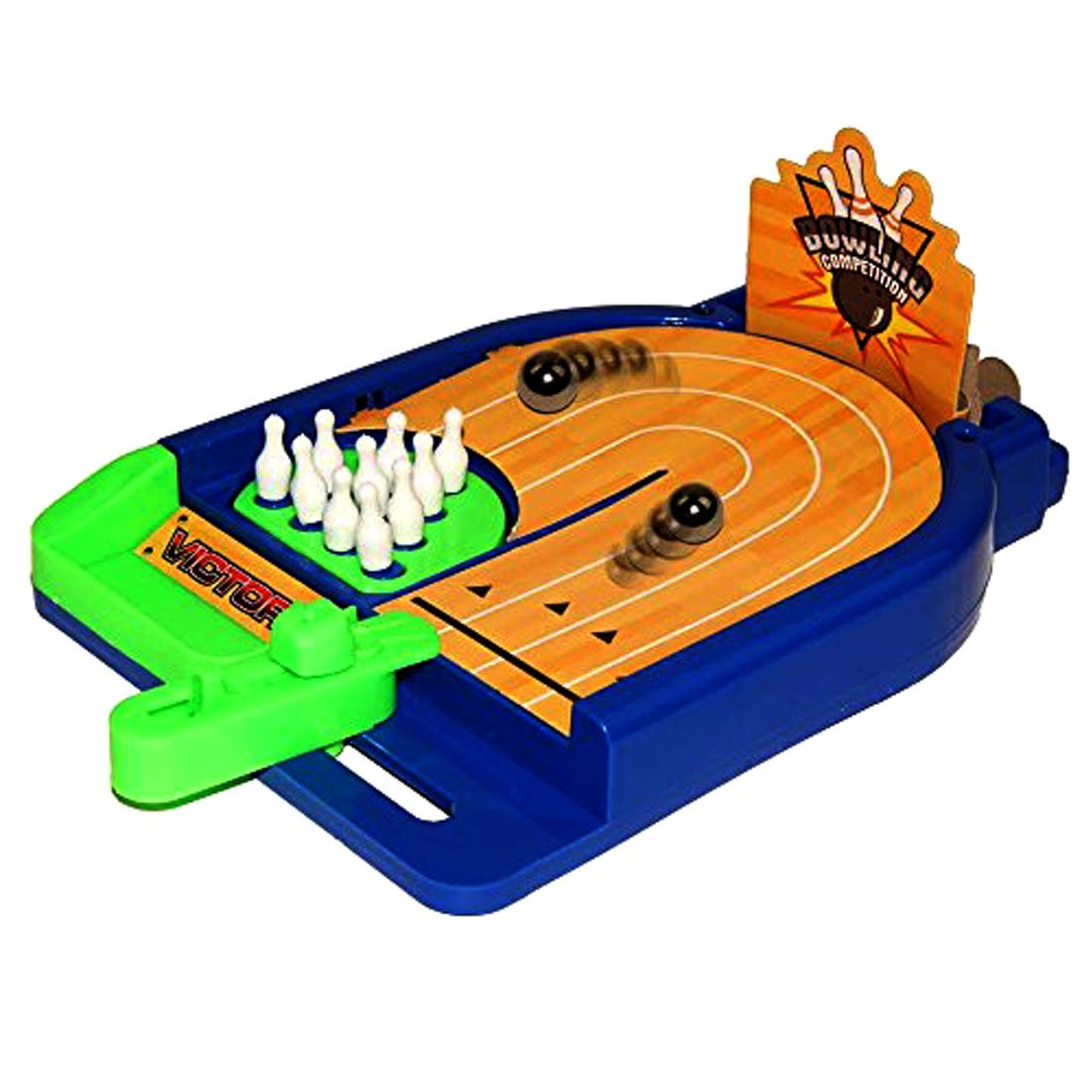 Birthday Party Toy Cubby Christmas Tabletop Bowling Arcade Board Game Power Strike Bowling Skills Game for Ages 5 and Up BBQ Surprise Game Room Miniature Desktop Bowling Board Game