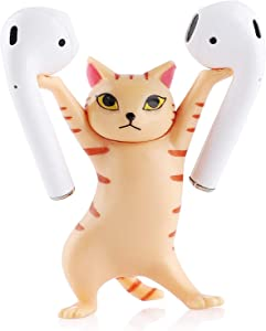 Cat Headphone Stand Headset Holder Accessories for Apple AirPods, Cat Wireless Earphone Stands & Hangers, Enchanting Cat Earphone Stand, Creative and Novelty Gifts (Orange)