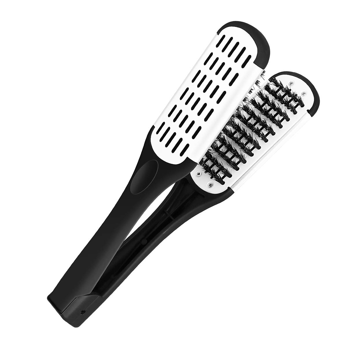 Hair Comb Hair Straightening Comb Styling Tools Boar Bristle Double Sided Brush Comb Clamp (Black)